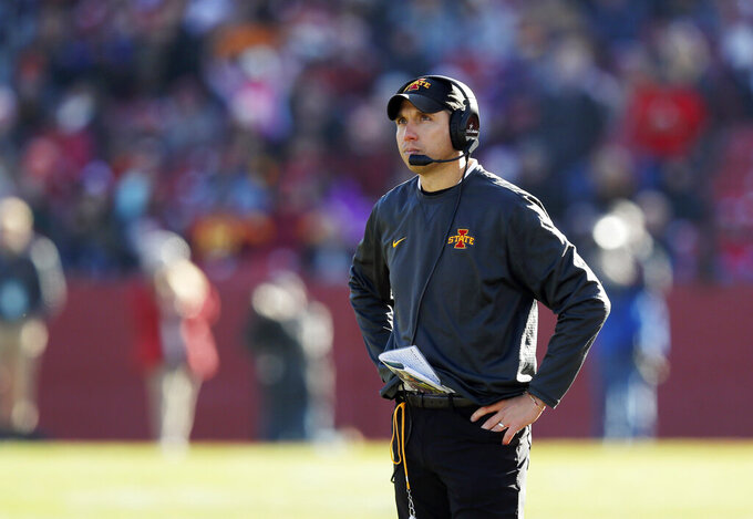 FILE - In this Saturday, Nov. 23, 2019, file photo, Iowa State head coach Matt Campbell looks to the scoreboard after Kansas scored a touchdown during the second half of an NCAA college football game, in Ames, Iowa. Iowa State knows all too well about picking up the pieces after a heartbreaking loss and getting in the right frame of mind for the next game. The Cyclones are calling on that experience again heading into their Big 12 opener at TCU on Saturday, Sept. 26, 2020, following their loss to double-digit underdog Louisiana-Lafayette on Sept. 5. (AP Photo/Matthew Putney, File)