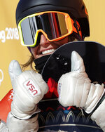 Jamie Anderson, of the United States, reacts to her score during the women's slopestyle final at Phoenix Snow Park at the 2018 Winter Olympics in Pyeongchang, South Korea, Monday, Feb. 12, 2018. (AP Photo/Lee Jin-man)
