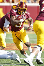 Minnesota running back Cam Wiley (3) rushes against Georgia Southern in the second quarter of an NCAA college football game Saturday, Sept. 14, 2019, in Minneapolis. (AP Photo/Bruce Kluckhohn)