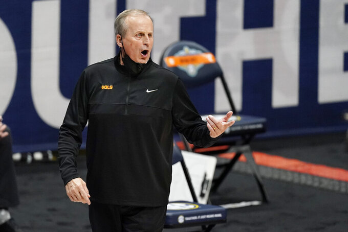 FILE — In this March 13, 2021, file photo, Tennessee head coach Rick Barnes yells to his players in an NCAA college basketball game against Alabama in the Southeastern Conference Tournament in Nashville, Tenn. With the talent Barnes has assembled, Tennessee is looking for a fourth NCAA Tournament berth trying to improve on the regional semifinal reached in 2019. (AP Photo/Mark Humphrey, File)