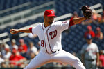 Washington Nationals starting pitcher Anibal Sanchez throws to the New York Mets in the second inning of a baseball game, Wednesday, Sept. 4, 2019, in Washington. (AP Photo/Patrick Semansky)
