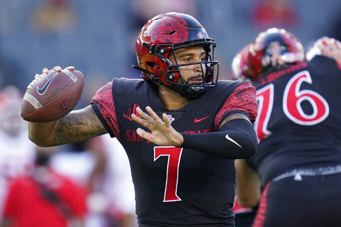 San Diego State quarterback Lucas Johnson (7) throws during the first half of an NCAA college football game against Utah Saturday, Sept. 18, 2021, in Carson, Calif. (AP Photo/Ashley Landis)