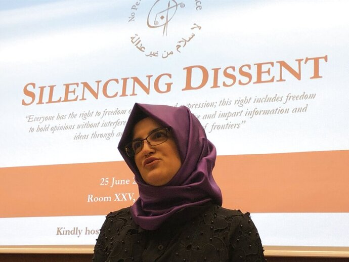Hatice Cengiz is pictured at the U.N.-backed Human Rights Council in Geneva, Switzerland, Tuesday, June 25, 2019. The fiancee of slain Saudi journalist Jamal Khashoggi has taken her campaign for justice over his grisly slaying to the U.N.'s top human rights body and urging the United Nations to take