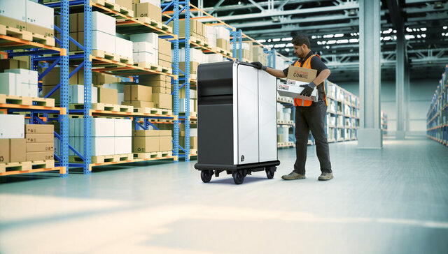 This photo provided by General Motors shows EP1 electric pallet. General Motors is forming a new business unit to tap the market for delivery vehicles and equipment powered by electricity. The new venture is called BrightDrop, and its first product will be a battery-powered wheeled pallet that will take goods from the warehouse to trucks and from trucks to destinations. (General Motors via AP)