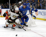 Anaheim Ducks' Devin Shore (29) and St. Louis Blues' Robert Thomas (18) race for the puck during the second period of an NHL hockey game Saturday, Nov. 16, 2019, in St. Louis. (AP Photo/Scott Kane)