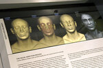 Detail of the facial depiction process for the Goucher mummy at the new Johns Hopkins Archaeological Museum exhibit,