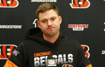 Cincinnati Bengals head coach Zac Taylor speaks during the second half of an NFL football game against the Cleveland Browns, Sunday, Dec. 8, 2019, in Cleveland. The Browns won 27-19. (AP Photo/Ron Schwane)