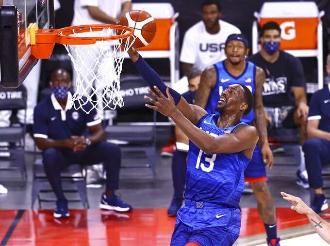 United States' Bam Adebayo lays up the ball during the first half of an exhibition basketball game against Argentina, in Las Vegas on Tuesday, July 13, 2021. (Chase Stevens/Las Vegas Review-Journal via AP)