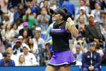 Bianca Andreescu, of Canada, reacts after defeating Serena Williams, of the United States, in the women's singles final of the U.S. Open tennis championships Saturday, Sept. 7, 2019, in New York. (AP Photo/Adam Hunger)