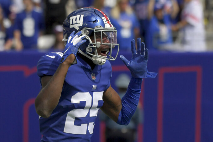New York Giants cornerback Rodarius Williams reacts after a foul call of pass interference against him during the first half of an NFL football game against the Atlanta Falcons, Sunday, Sept. 26, 2021, in East Rutherford, N.J. (AP Photo/Bill Kostroun)