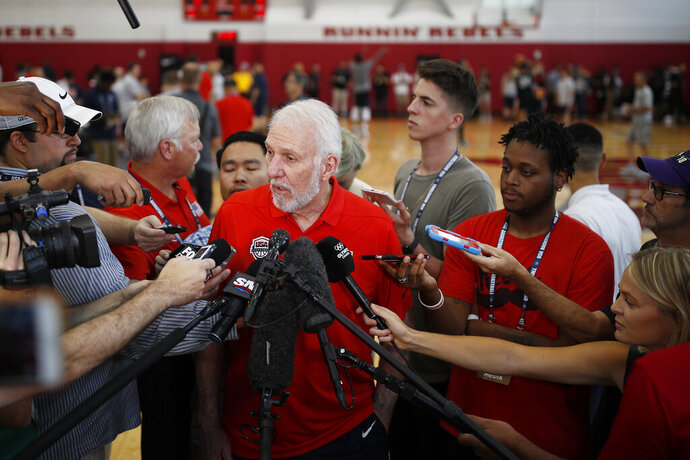 FILE - In this July 26, 2018, file photo, head coach head coach Gregg Popovich speaks with the media during a training camp for USA Basketball, in Las Vegas. USA Basketball opened training camp Monday, Aug. 5, 2019, for the FIBA World Cup, which starts Aug. 31 in China. (AP Photo/John Locher, File)