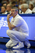 Boise State coach Leon Rice watches from the sideline during the second half of the team's NCAA college basketball game against San Diego State, Sunday, Feb. 16, 2020, in Boise, Idaho. San Diego State won 72-55. (AP Photo/Steve Conner)