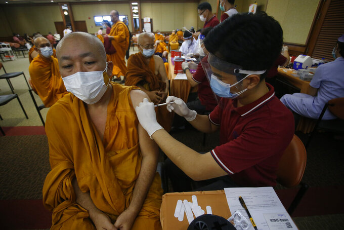 A health worker administers a dose of the Sinovac COVID-19 vaccine to Buddhist monk at Priest Hospital in Bangkok, Thailand Tuesday, May 18, 2021. Thailand had about 7,100 cases, including 63 deaths, in all of last year, in what was regarded as a success story. Taxi drivers are starved for customers, weddings are suddenly canceled, schools are closed, and restaurant service is restricted across much of Asia as the coronavirus makes a resurgence in countries where it had seemed to be well under control. (AP Photo/Anuthep Cheysakron)