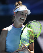 United States' Jennifer Brady reacts during her fourth round match against Croatia's Donna Vekic at the Australian Open tennis championship in Melbourne, Australia, Monday, Feb. 15, 2021.(AP Photo/Andy Brownbill)