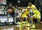 Washington guard Nahziah Carter (11) chases down a ball in front of Oregon forward Louis King (2) during an NCAA college basketball game Thursday, Jan. 24, 2019, in Eugene, Ore. (AP Photo/Thomas Boyd)