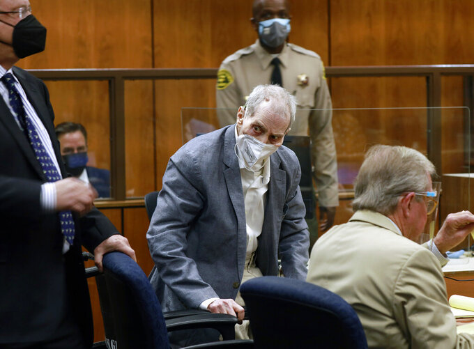 Robert Durst looks at jurors walking into the courtroom as he appears in a courtroom in Inglewood, Calif. on Wednesday, Sept. 8, 2021. Robert Durst is a champion at running from responsibility, covering his tracks with lies so numerous he couldn't keep them all straight, a prosecutor said Wednesday during closing arguments in the New York real estate heir's murder trial. (Al Seib/Los Angeles Times via AP, Pool)