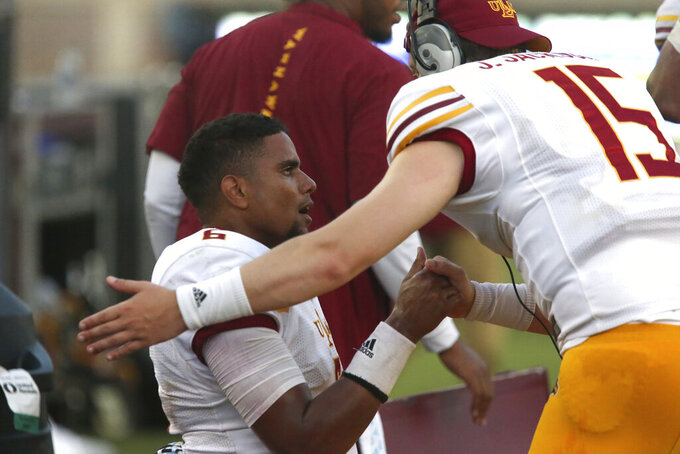 Louisiana-Monroe's Caleb Evans is congratulated after scoring a touchdown in the third quarter of an NCAA college football game with Florida State, Saturday, Sept. 7, 2019 in Tallahassee Fla. (AP Photo/Steve Cannon)