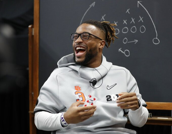 Clemson's Amari Rodgers has some fun during media day for the NCAA college football playoff championship game Saturday, Jan. 5, 2019, in Santa Clara, Calif. (AP Photo/David J. Phillip)