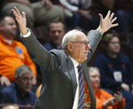 Syracuse coach Jim Boeheim signals for his team to play defense during the first half of an NCAA college basketball game against Virginia Tech in Blacksburg Va., Saturday, Jan. 18 2020. (Matt Gentry/The Roanoke Times via AP)