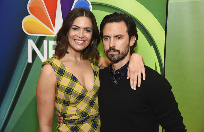 Mandy Moore, left, and Milo Ventimiglia, from the cast of
