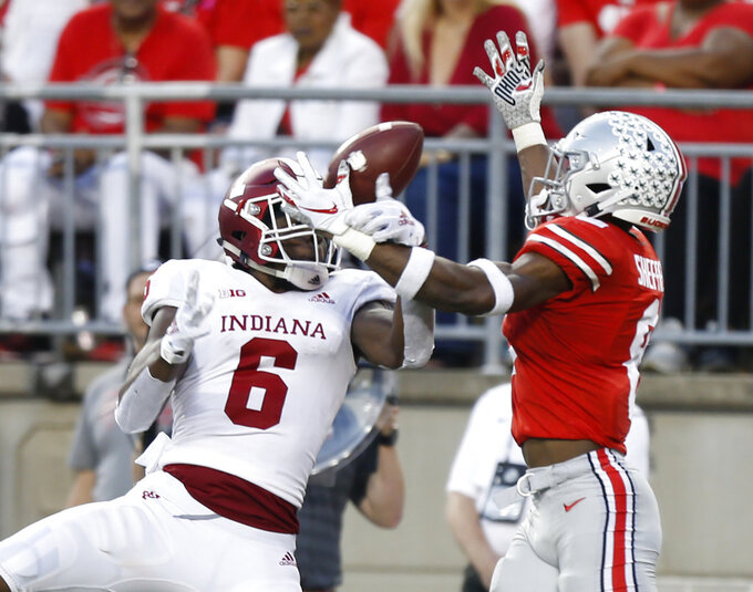 Ohio State defensive back Kendall Sheffield, right, breaks up a pass intended for Indiana receiver Donavan Hale during the second half of an NCAA college football game Saturday, Oct. 6, 2018, in Columbus, Ohio. (AP Photo/Jay LaPrete)
