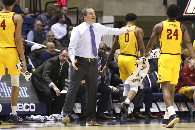 Iowa State coach Steve Prohm reacts to a call during the first half of an NCAA college basketball game against West Virginia Wednesday, Feb. 5, 2020, in Morgantown, W.Va. (AP Photo/Kathleen Batten)