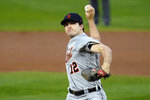Detroit Tigers pitcher Casey Mize throws to a Minnesota Twins batter during the first inning of a baseball game Wednesday, Sept. 23, 2020, in Minneapolis. (AP Photo/Jim Mone)