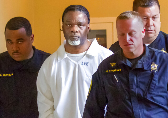 FILE - In this April 18, 2017, file photo, Ledell Lee appears in Pulaski County Circuit Court for a hearing in which lawyers argued to stop his execution. Two groups sued a central Arkansas city on Thursday, Jan. 23, 2020, seeking the release of evidence they say could exonerate Lee who was executed nearly three years ago. (Benjamin Krain/The Arkansas Democrat-Gazette via AP, File)
