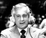 FILE - In this Sept. 15, 1978, file photo, Curt Gowdy, the dean of network sportscasters, wears a headset. A versatile announce nicknamed the Cowboy who started off as Mel Allen's partner on Yankees radio broadcasts, Gowdy was one of the original voices of the AFL on ABC when the league started in 1960. He moved on to NBC in 1965 and was in the booth for some of the most memorable games in pro football history. (AP Photo/File)