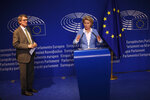 German Defense Minister and candidate for European Commission President Ursula von der Leyen, right, gives a statement next to new elected President of the European Parliament David Sassoli after their meeting at the European Parliament in Brussels, Wednesday, July 10, 2019. European Parliament groups are grilling the German candidate for European Commission president before they take a vote on her appointment next week. (AP Photo/Francisco Seco)