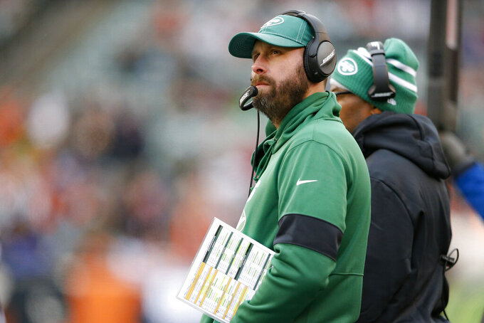 New York Jets head coach Adam Gase works the sideline during the second half of an NFL football game against the Cincinnati Bengals, Sunday, Dec. 1, 2019, in Cincinnati. (AP Photo/Gary Landers)