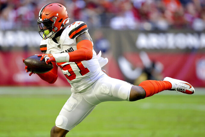 Cleveland Browns linebacker Mack Wilson (51) intercepts a pass during the first half of an NFL football game against the Arizona Cardinals, Sunday, Dec. 15, 2019, in Glendale, Ariz. (AP Photo/Ross D. Franklin)