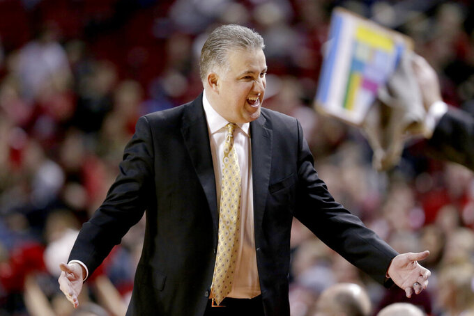 Purdue coach Matt Painter talks to his bench during the second half of an NCAA college basketball game against Nebraska in Lincoln, Neb., Saturday, Feb. 23, 2019. (AP Photo/Nati Harnik)