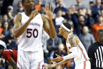 Auburn guard Samir Doughty (10) reacts to a foul call during the first half of an NCAA college basketball game against North Carolina State, Thursday, Dec. 19, 2019, in Auburn, Ala. (AP Photo/Julie Bennett)