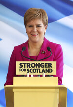 Scottish National Party (SNP) leader Nicola Sturgeon speaks during the launch of the party's General Election campaign, in Edinburgh, Scotland, Friday Nov. 8, 2019.  The Scottish National Party is officially launching its campaign for Britain's upcoming Dec. 12 election, with the SNP hoping to put Scotland a step closer to independence. (Andrew Milligan/PA via AP)