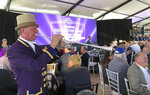 Santa Anita Park bugler Jay Cohen plays during the Breeders' Cup Draw for positions Monday, Oct. 28, 2019, at the track in Arcadia, Calif., in advance of the Breeders' Cup series of horse races this coming weekend. (AP Photo/Beth Harris)