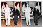 This photo combination shows digital colorization, left, by Anju Niwata and Hidenori Watanave, and its original black and white Kyodo photo that Japanese Emperor Hirohito, right, meets Gen. Douglas MacArthur at the U.S. Embassy in Tokyo on Sep. 27, 1945. Niwata and Watanave are adding color to pre-war and wartime photographs using a combination of methods. These include AI technologies, but also traditional methods to fill the gaps in automated coloring. These include going door to door interviewing survivors who track back childhood memories, and communicating on social media to gather information from a wider audience. The team has brought to life more than a thousand black-and-white photographs that illustrate the pre-war lives of ordinary people and chronicles the onset and destruction caused by World War II. (Kyodo News/Anju Niwata & Hidenori Watanave via AP)