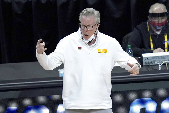 Iowa head coach Fran McCaffery yells at is players during the second half of a first round NCAA college basketball tournament game against Grand Canyon Saturday, March 20, 2021, at the Indiana Farmers Coliseum in Indianapolis. Iowa won 86-74. (AP Photo/Charles Rex Arbogast)
