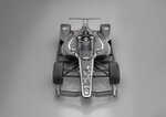 This artists rendering provided by IndyCar shows an IndyCar featuring an aeroscreen (windshield). IndyCar will use an