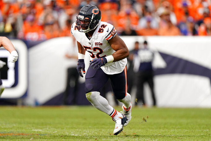 Chicago Bears outside linebacker Khalil Mack (52) runs a play against the Denver Broncos during the second half of an NFL football game, Sunday, Sept. 15, 2019, in Denver. (AP Photo/Jack Dempsey)