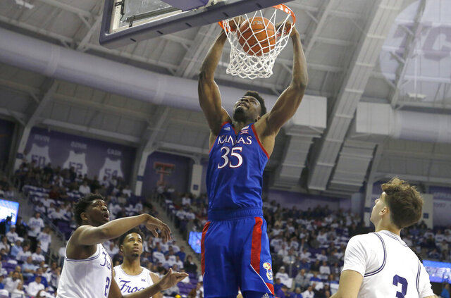 Kansas center Udoka Azubuike (35) dunks against TCU during the second half of an NCAA college basketball game, Saturday, Feb. 8, 2020 in Fort Worth, Texas. Kansas won 60-46. (AP Photo/Ron Jenkins)