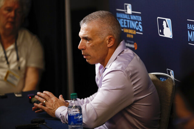 Philadelphia Phillies manager Joe Girardi speaks during the Major League Baseball winter meetings Monday, Dec. 9, 2019, in San Diego. (AP Photo/Gregory Bull)