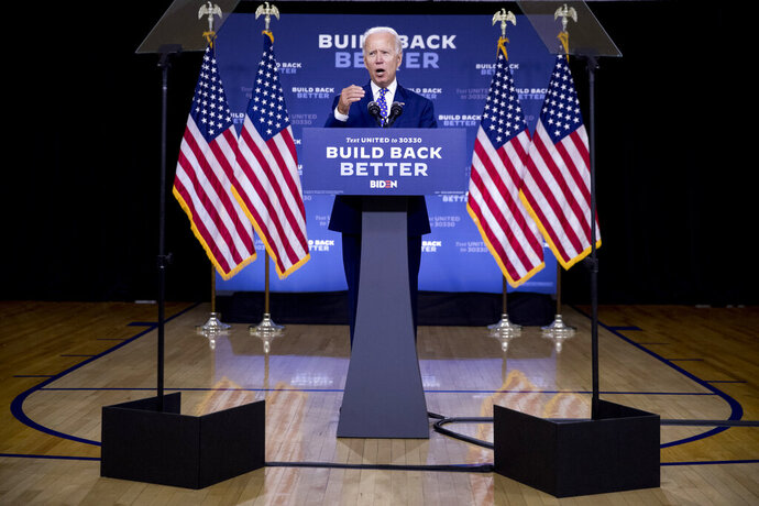 FILE - In this July 28, 2020, file photo, Democratic presidential candidate former Vice President Joe Biden speaks at a campaign event at the William