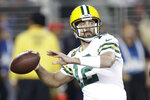 Green Bay Packers quarterback Aaron Rodgers (12) passes against the San Francisco 49ers during the first half of an NFL football game in Santa Clara, Calif., Sunday, Nov. 24, 2019. (AP Photo/Ben Margot)