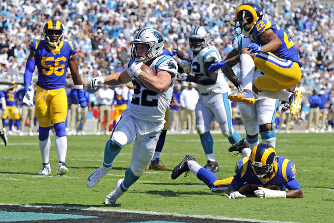 Carolina Panthers running back Christian McCaffrey (22) runs for a touchdown against the Los Angeles Rams during the second half of an NFL football game in Charlotte, N.C., Sunday, Sept. 8, 2019. (AP Photo/Mike McCarn)