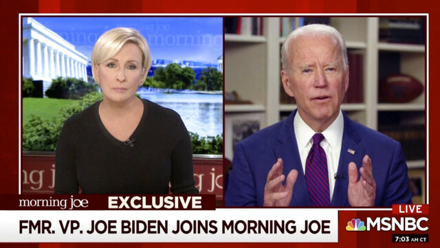This video framegrab image from MSNBC's Morning Joe, shows Democratic presidential candidate former Vice President Joe Biden speaking to co-host Mika Brzezinski, Friday, May 1, 2020. (MSNBC's Morning Joe via AP)