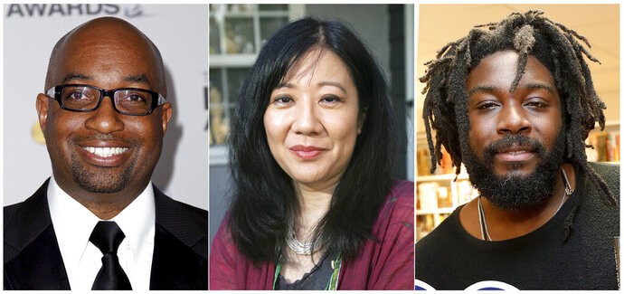 """This combination of photos show authors, from left, Kwame Alexander, Cynthia Kadohata and Jason Reynolds are among the 10 authors on the young people's literature longlist for the National Book Awards. he awards are presented by the National Book Foundation. Alexander was nominated for """"The Undefeated,"""" Kadohata, winner of the National Book Award in 2013 for """"The Thing About Luck,"""" was nominated for """"A Place to Belong,"""