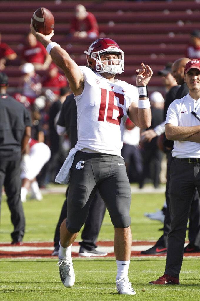 Washington St. quarterback Gardner Minshew, II throws during warmups against Stanford during an NCAA college football game on Saturday, Oct. 27, 2018, in Stanford, Calif. (AP Photo/Don Feria)