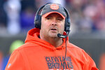 FILE - In this Dec. 22, 2019, file photo, then-Cleveland Browns head coach Freddie Kitchens walks on the field during the fourth quarter of an NFL football game against the Baltimore Ravens in Cleveland. Freddie Kitchens was fired after one stormy season as Browns coach. On Sunday, Dec. 20, 2020, he'll get at shot at some personal payback. Kitchens will call plays for New York on Sunday night against Cleveland after Giants offensive coordinator Jason Garrett tested positive for COVID-19 on Thursday. (AP Photo/David Richard, File)