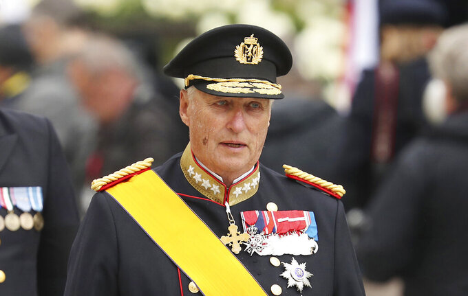 FILE - In this Saturday, May 4, 2019 file photo, King Harald V of Norway and his wife Sonja leave the Notre Dame cathedral after attending at the funeral of the Grand Duke Jean of Luxembourg, in Luxembourg. The Norwegian palace reported on Friday, Sept. 25, 2020 that the country's popular 83-year-old king, Harald V, has been admitted to the main hospital in Oslo. It gave no information about his condition. Harald, the country's first native-born king since the 14th century, ascended the throne upon the death of his father King Olav in 1991.  (AP Photo/Francisco Seco, File)